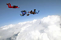 Group of parachute jumpers, Saanen, Canton Bern, Switzerland