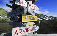 Signpost in Olonkinbyen, Bay B&#168;tvika Jan Mayen, North Atlantic Island