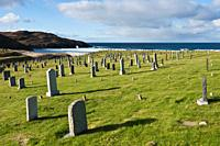 Coastal cemetery at Dalmore beach, Isle of Lewis, Outer Hebrides, Scotland