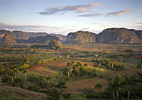 View of Vinales Valley at dawn from grounds of Hotel Los Jasmines showing limestone hills known as Mogotes characteristic of the region, near Vinales,...