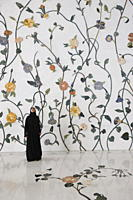 Thousands of semi_precious stones, inset in marble, in a flower pattern decorate the Sheikh Zayed Grand Mosque, Abu Dhabi, United Arab Emirates, Middl...