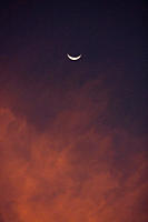 Crescent moon setting over a Baja Sunset, Baja California Sur, Mexico