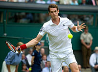 England, London, Wimbledon. Andy Murray GBR in action during the Wimbledon Tennis Championships 2010.