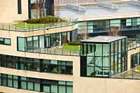 An architect designed modern building with a grass roof just off Princes Street in Edinburgh Scotland UK Incorporating a green roof on buildings can h...