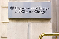 A sign outside the Department of Energy and Climate change in Whitehall London UK