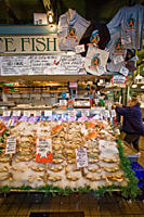 Views of the famous Pike Street Market in downtown Seattle, Washington State, USA Pacific Ocean This market is a huge destination for both residents a...
