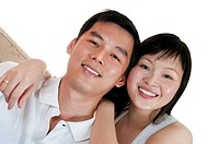 Portrait of Young Asian couple with smiling face