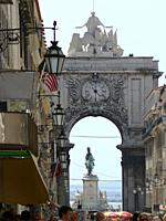 Triumphal Arch of Rua Augusta in the historic center of Lisbon  Lisbon Portugal