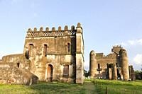 Fasil Ghebbi, fortress like royal enclosure, Gonder, Ethiopia  The palace of Fasiladas on the right, to the left the library of Johannes I  The librar...