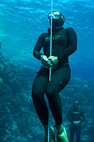 Sara Campbell´s warm up before world record attempt at the constant weight freediving discipline, June 2009 Blue Hole Dahab, Egypt