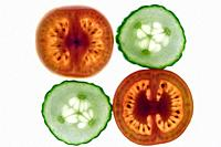 Cucumber and Tomato slices close up