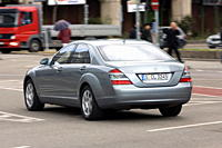 Mercedes S 320 CDI, model year 2005_, silver, driving, diagonal from the back, rear view, City