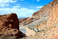 A dry riverbed in the high Atlas mountains in southern Morocco