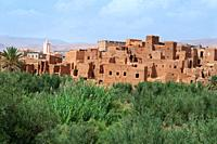Adobe architecture and Kasbah in a rural village in Morocco