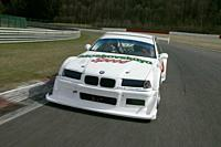 Car, BMW M2 GTR, white, diagonal from the front, frontal view, driving, race track, Test track