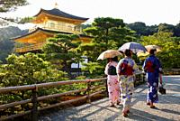 Japanese women with Kimono, Kinkakuji Temple, The Golden Pavilion, Rokuon-ji temple, Kyoto, Japan