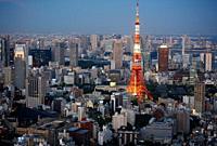Tokyo Tower, Tokyo City View, Roppongi Hills Mori Tower, Tokyo, Japan.