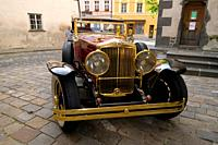 Belgian Oldtimer Minerva 8 Al Rollston, luxury class of 1931, headlamps, old city of Prachatice, cobble stone, Bohemia, Czech Republic