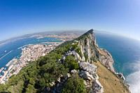 Gibraltar View from top of the Rock across Gibraltar to La Linea de la Concepcion in Spain