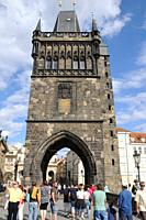 Tower of Staré Mesto in Carlos Bridge  Prague  Czech Republic  Gothic period  It watches the Access to the bridge from the right shore of Moldavia riv...