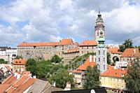 Outlook of Cesky Krumlov, with the Castle and Moldava River  Czech Republic  Cesky Krumlov Castle is the second biggest in Bohemia, erected in the fir...