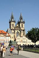 Our Lady of Tyn's Church Towers  Prague  Czech Republic  It is one of the Gothic constructions raised in the middle of the Fourteenth Century  With Ba...