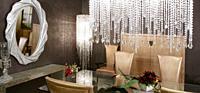 dining room modern crystal strass lamp and crocodile golden chairs