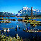 View of Vermilion Lakes and Mount Rundle in Banff National Park