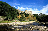 Castle overlooking the River Swale in the market town of Richmond situated on the edge of the Yorkshire Dales National Park