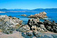 Rocky beach on the Golfe de Valinco near Propriano, Corsica, France