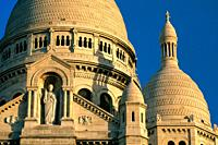 Detail of Sacred Heart Basilica in evening light, Montmartre, Paris, France