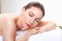 Woman having a spa treatment, eyes closed (thumbnail)
