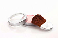 Make_up powder and blusher brush, close_up
