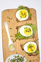 Boiled egg on rye bread garnished with cress
