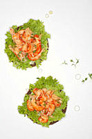 Crayfish on rye bread with salad against white background