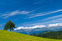Italy, South Tyrol, View of mountain with Dolomite alps in background