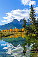 The Three Sisters mountain peaks, Canmore, Alberta, Canada