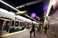 Passengers at the Beacon Hill Station, Sound Transit´s Link Light Rail, Seattle, Washington