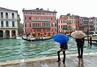 Gondolas on the Grand Canal, Venice, Veneto, Italy