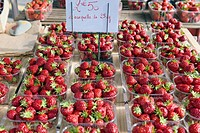 Strawberries in outdoor marked