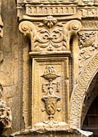 Decorated in relief with grotesque, garlands and Corinthian capitals on the front of the church of St. Thomas in Haro, Plateresque, Vigarny work of Ph...