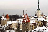 Snowy roofs in Tallinn's old town Christmas in Tallinn Estonia