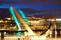 Gateshead Millennium Bridge tilts to allow boat to pass  Gateshead, Tyne and Wear, Newcastle, England