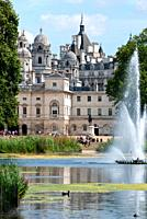 St James park lake with horse guards in the background, London, UK
