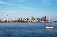seattle skyline and a sailboat in the water, seattle, washington, united states of america