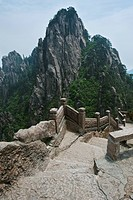 stairway on huang shan yellow mountain, tunxi, anhui, china
