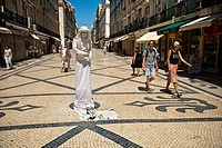 Rua Augusta road, pedestrian and shopping mile, Baixa District, Lisbon, Portugal, Europe.