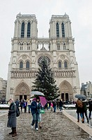 Paris, France, Notre Dame Cathedral, Tourists, in Snow