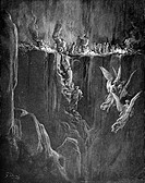 Gustave Doré, The Perilous Pass on the eighth cornice of Purgatory from Dante Alighieri's Divine Comedy, Black and White Engraving
