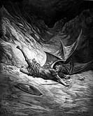 Gustave Doré, Satan Smitten by Michael from John Milton's Paradise Lost, Black and White Engraving